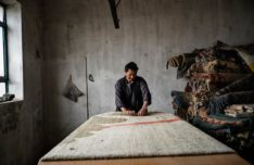 Kabul, Afghanistan, March 24th, 2015: Carpet production in Kabul. Carpet storage. Credits: Lorenzo Tugnoli