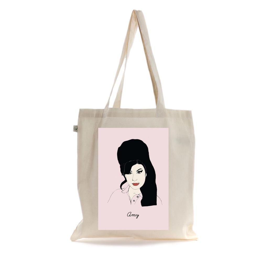 Bolsa de tecido com Amy Winehouse pintada à mão da Rosie Wonders
