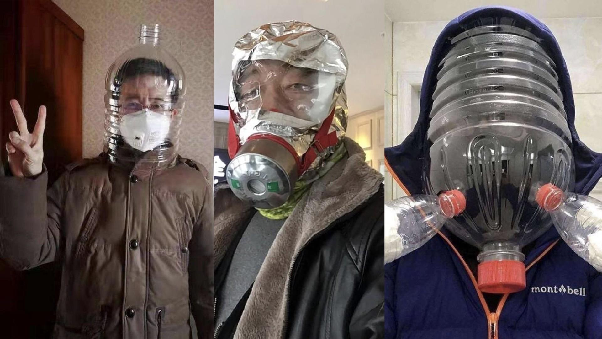 Imagens de máscaras de segurança respiratória homemade que viralizaram nos grupos de WhatsApp