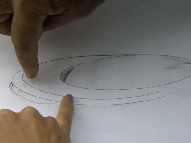 Um esboço de como ficaria a pista de skate futurista de Chu Yong Ei no gramado do Ibirapuera