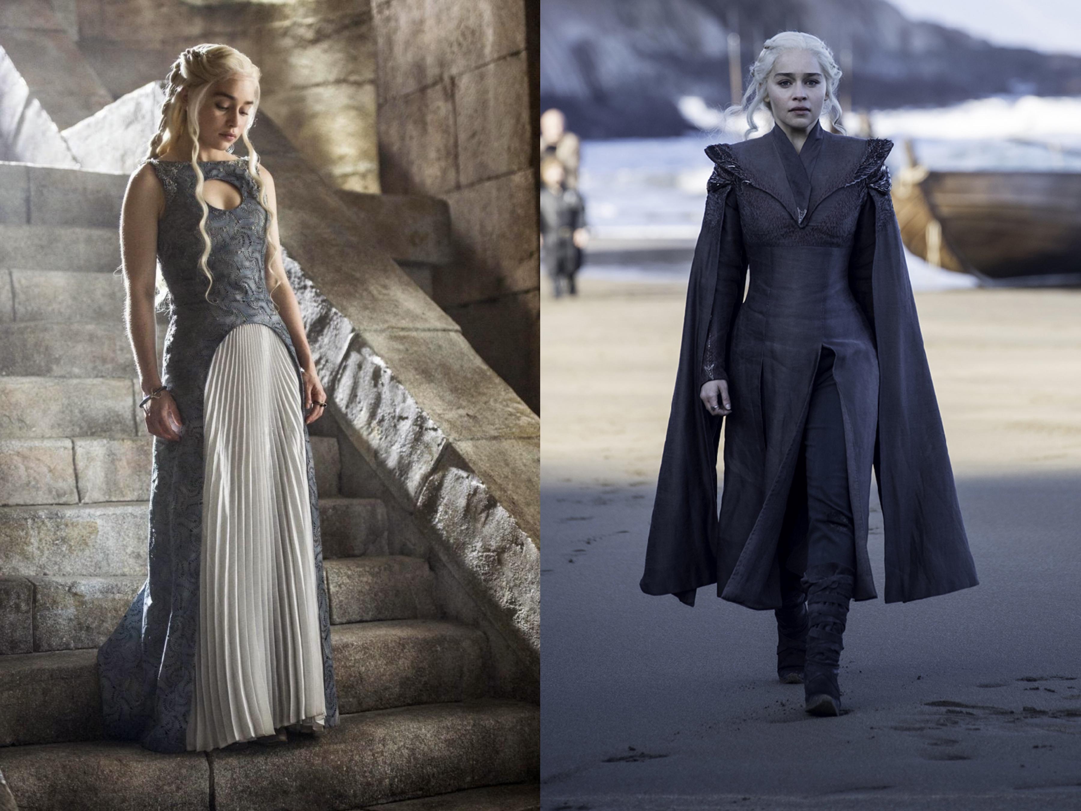 A personagem de Emilia Clarke, respectivamente, na temporada 4 e 7 ©Reprodução