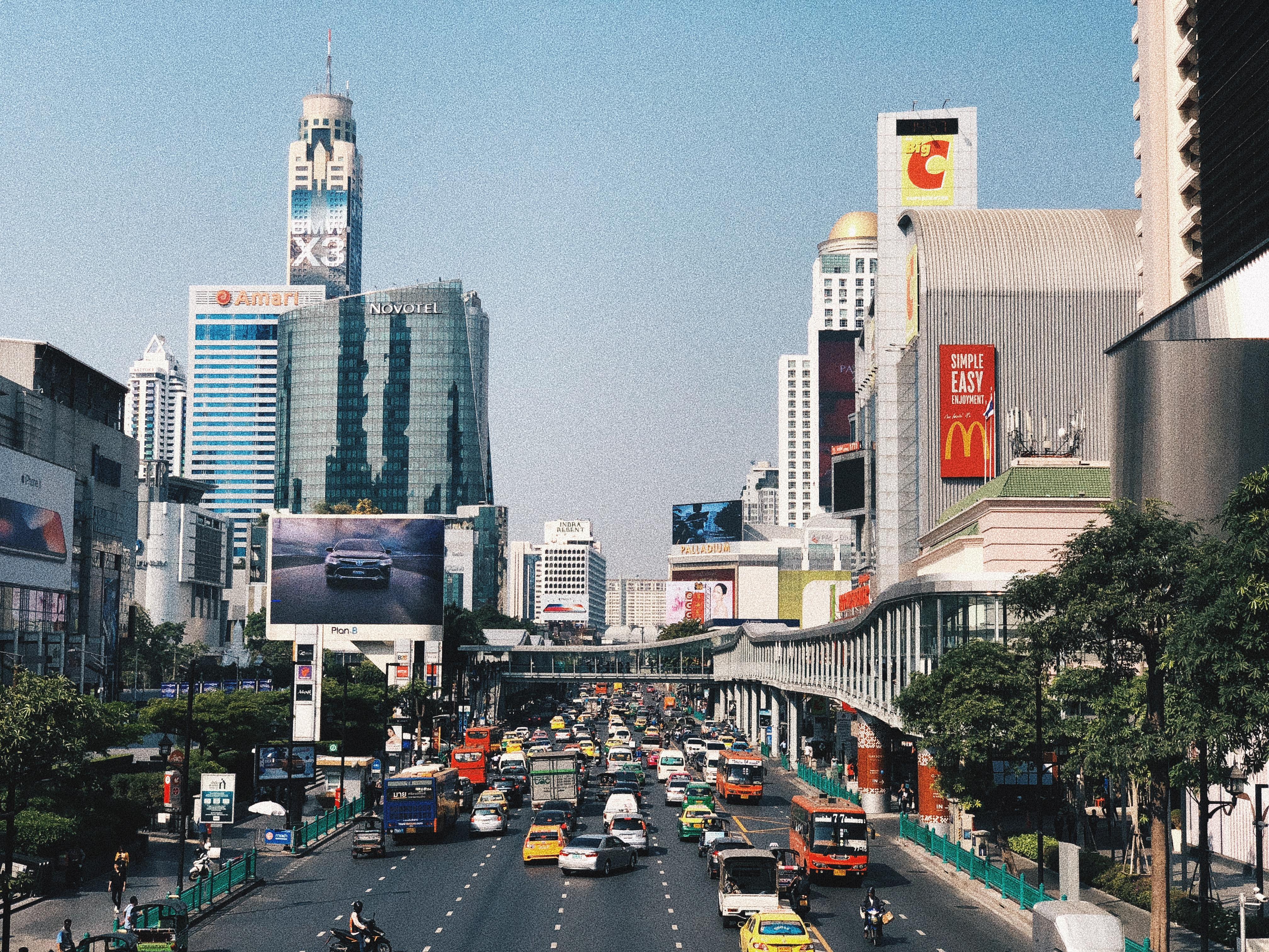 landscape de Bangkok e o trânsito caótico