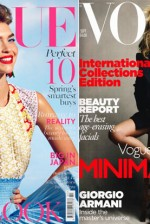 Arizona Muse e Kate Moss nas capas da ''Vogue'' britânica de fev/2012 e set/2010, respectivamente