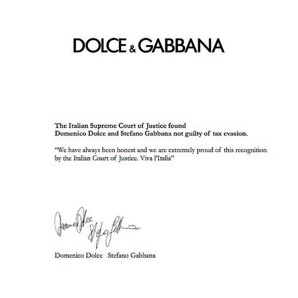 Comunicado de Dolce e Gabanna divulgado pelo Instagram ©Reprodução