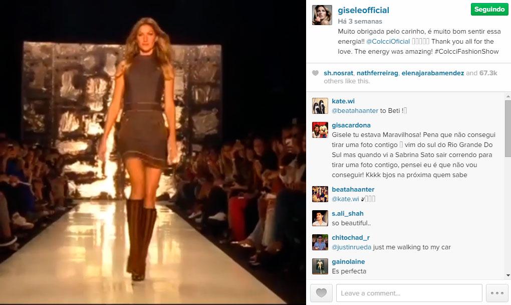 """Vídeo do desfile da Colcci postado por Gisele em sua conta no Instagram rendeu mais de 67.3K """"likes"""" ©Reprodução"""