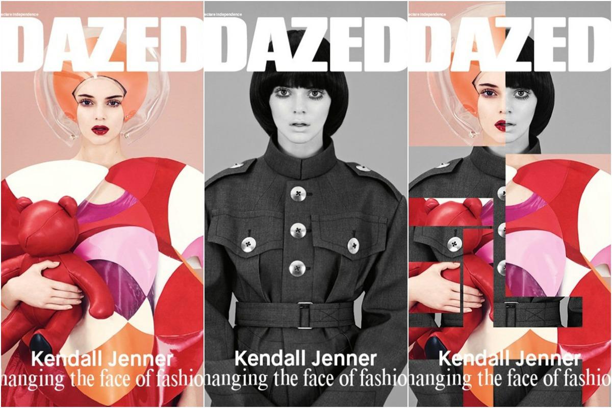 """Kendall Jenner nas três versões da nova capa da """"Dazed"""" ©Reprodução"""