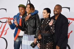 NEW YORK, NY - JUNE 01: (L-R) Pharrell Williams, Helen Lasichanh, Kim Kardashian and Kanye West attend the 2015 CFDA Fashion Awards at Alice Tully Hall at Lincoln Center on June 1, 2015 in New York City. (Photo by Dimitrios Kambouris/Getty Images)