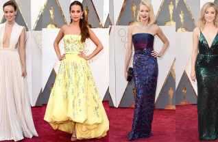 Olivia Wilde de Valentino, Alicia Vikander de Louis Vuitton, Naomi Watts com Armani Privé e Saoirse Ronan, de Calvin Klein Collection no red carpet do Oscar 2016 ©Reprodução