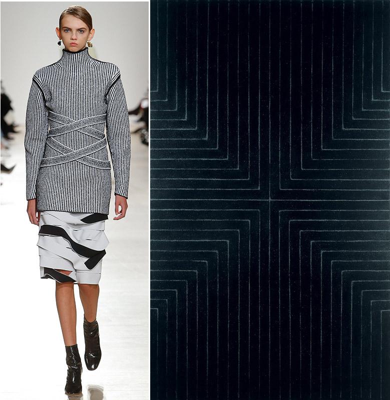 As linhas finas geométricas com efeito de movimento na obra Die Fahne ho! (1959), de Frank Stella, e look do Inverno 2017 de Proenza Schouler, que também se inspira nas ondulações das instalações de Stella