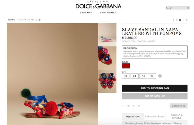 A sandália à venda no site da marca
