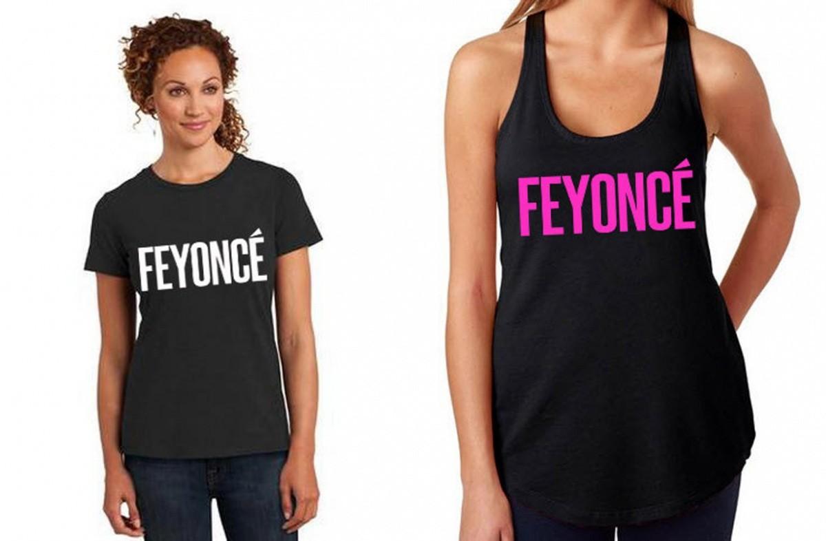 Blusas da marca Feyoncé, que faz paródia com o nome e as canções de Beyoncé ©Reprodução