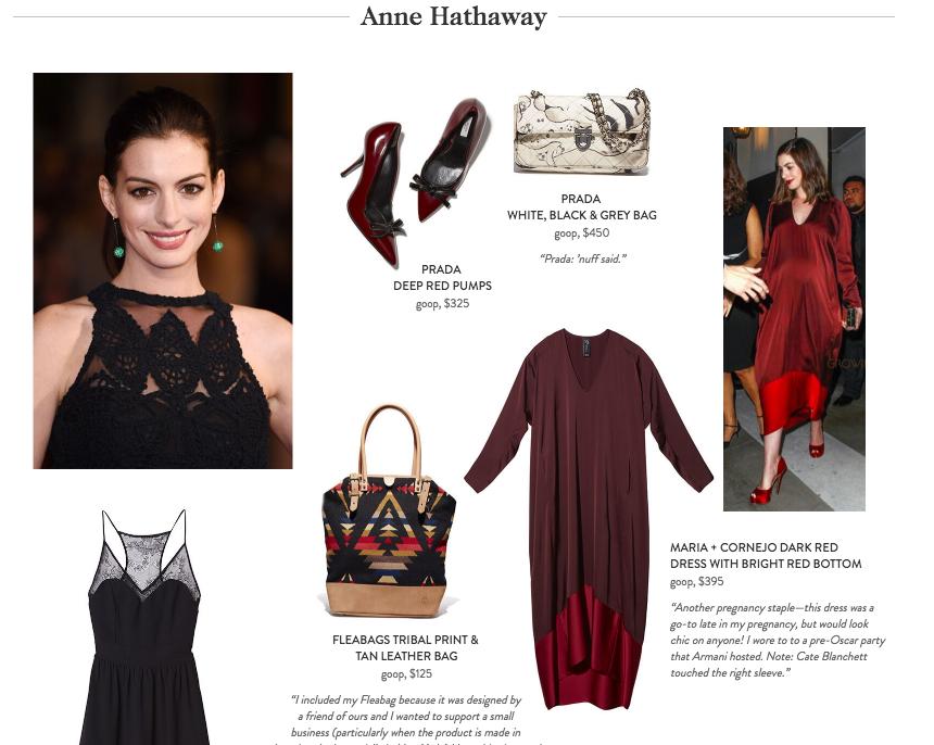 As peças doadas por Anne Hathaway com aspas da atriz ©Reprodução