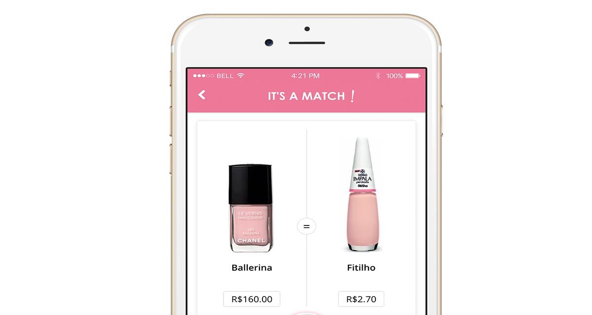Interface do app que ajuda a encontra versões mais baratinhas de esmaltes de grifes internacionais ©Reprodução