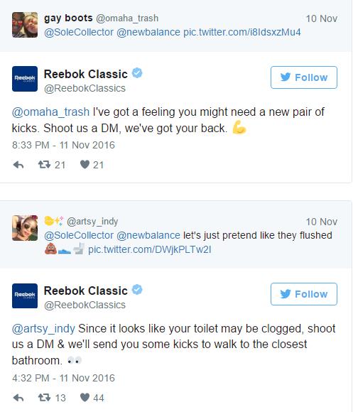 Respostas da Reebok a consumidores que se desfizeram de seus pares da New Balance ©Reprodução
