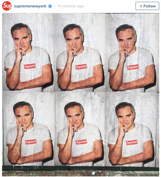 Foto da campanha da Supreme com Morrissey ©Reprodução