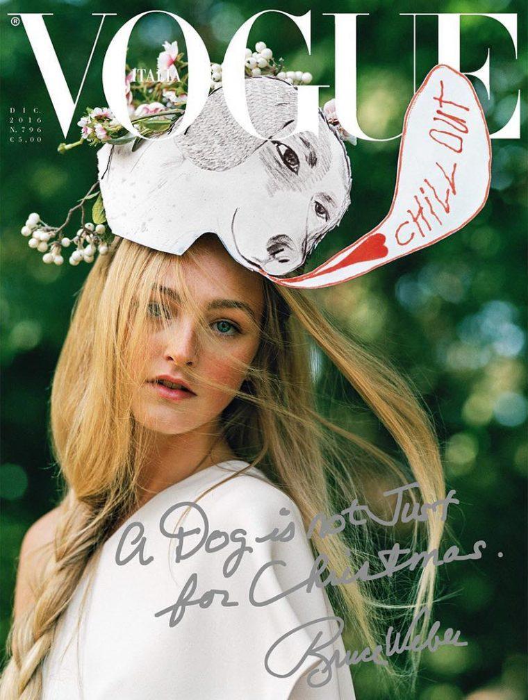 Jean Campbell por Bruce Weber para a Vogue Italia de dezembro 16, última capa de Franca em vida ©Reprodução