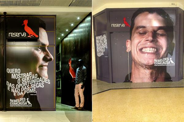 Campanha do projeto social Rebeldes com Causa que deu visibilidade a 11 ONGs diferentes, estampando fotos de seus fundadores nas vitrines das lojas em 2014/Reprodução