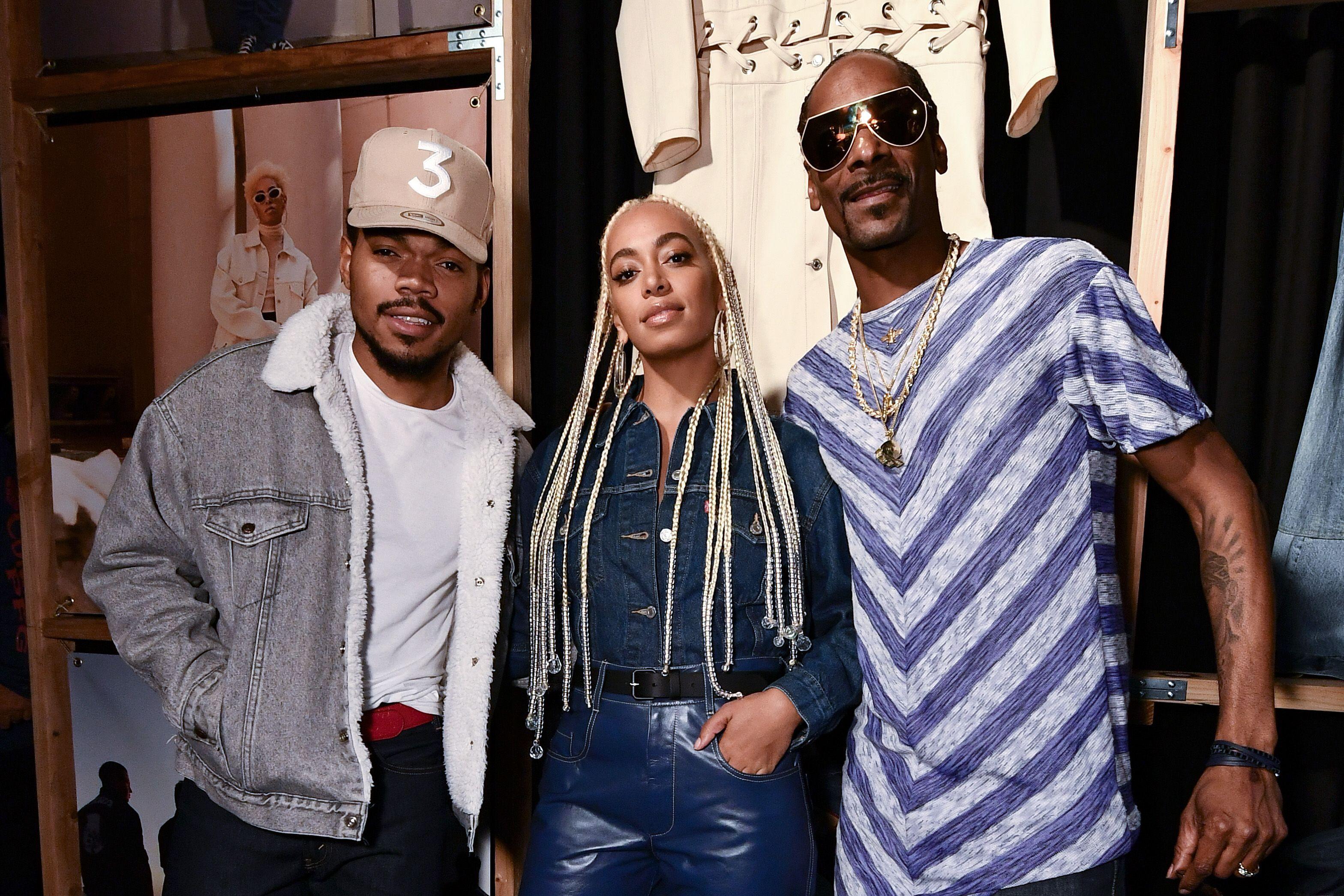 Chance The Rapper, Solange Knowles e Snoop Dogg na festa dos 50 anos da Trucker Jacket em LA / Foto: Shutterstock
