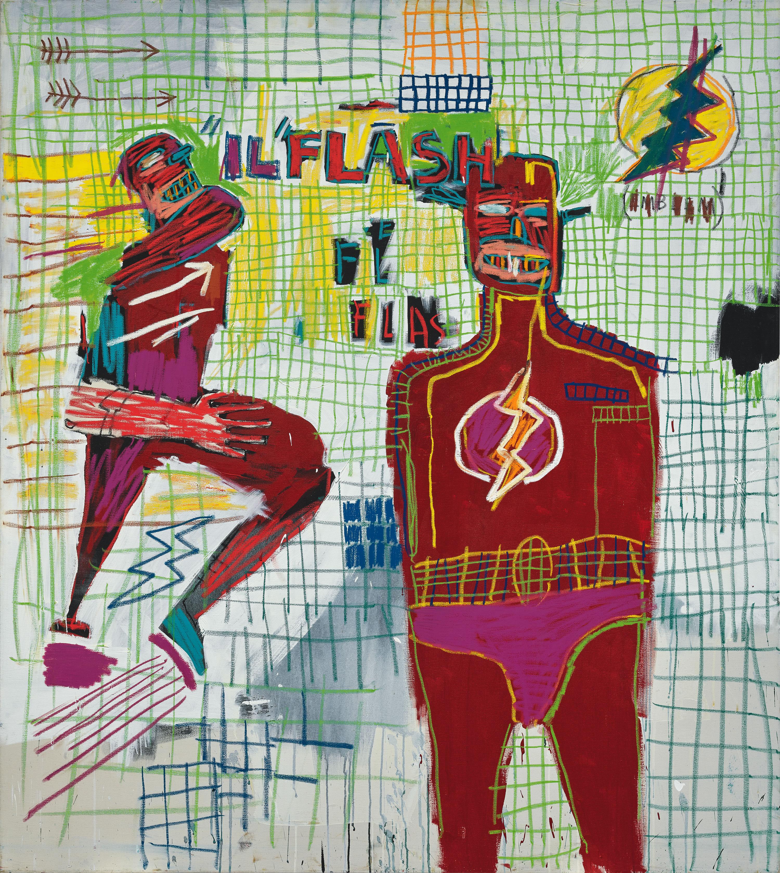 Flash em Napoles, 1983. Acrílico e tinta a óleo em bastão sobre tela. (© The Estate of Jean-Michel Basquiat. Licensed by Artestar, New York/Divulgação)
