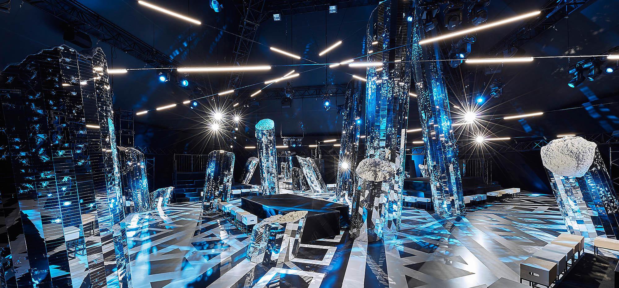 cenário do desfile de inverno 16 da Louis Vuitton