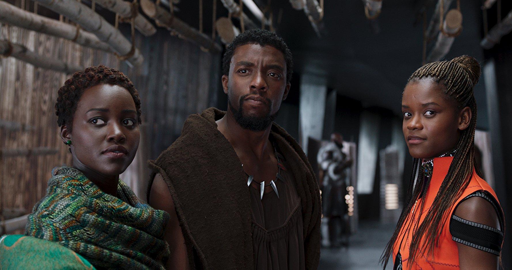 Lupita Nyong'o, Chadwick Boseman e Letitia Wright / Reprodução