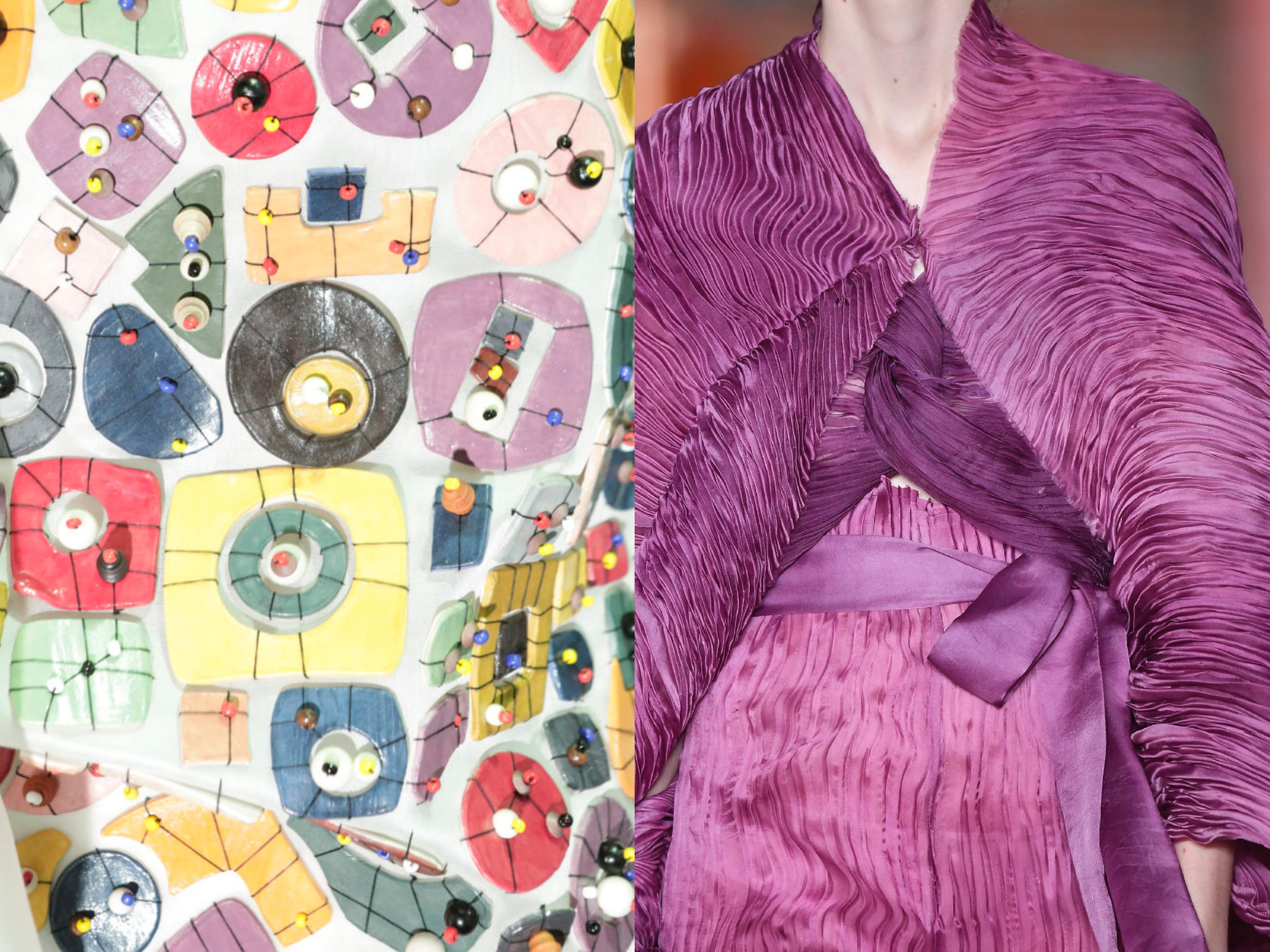 Detalhe das aplicações em cerâmica e plissado em seda / Foto: Agência Fotosite