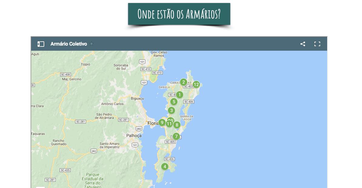 Localização dos armários em Florianópolis / Reprodução