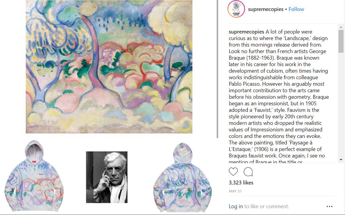 Estampa da Supreme, identificada pelo perfil como sendo do artista George Braque