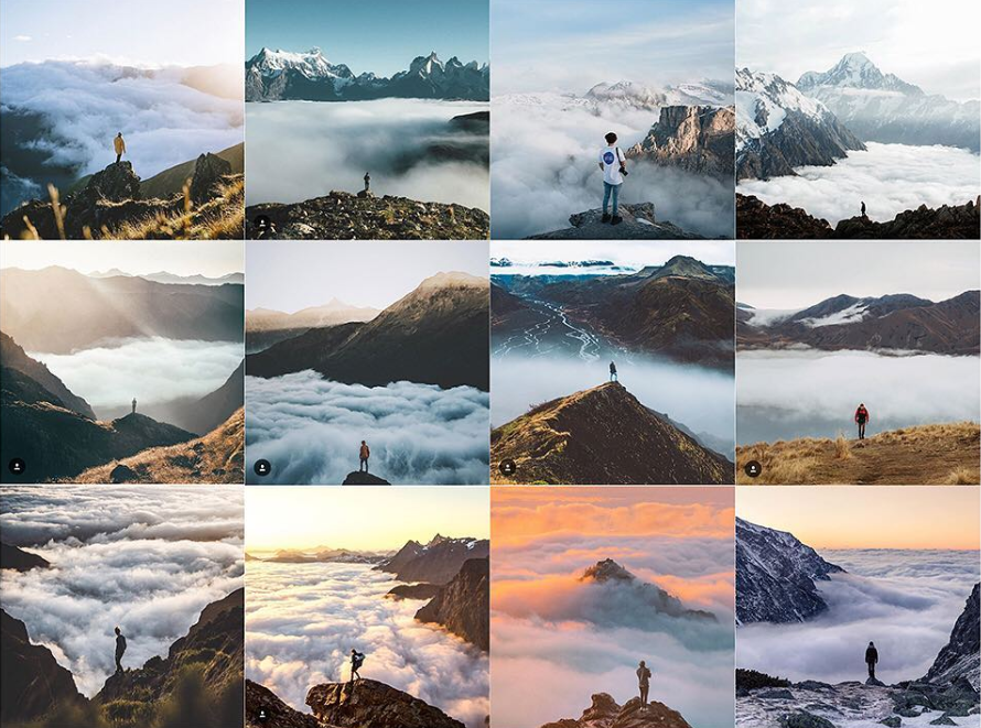 Fotos em montanhas e acima da linha das nuvens figuram entre as mais comuns
