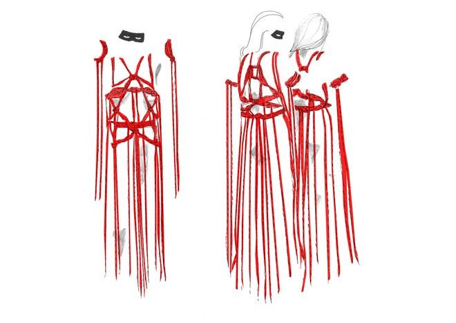 Croqui do vestido com cordas © Reprodução