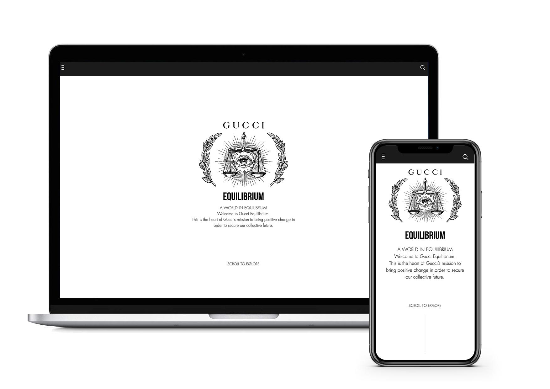 Site da Gucci Equilibrium, que mostra dados sobre sua performance ambiental / Cortesia