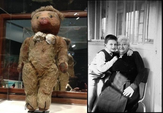 Os sutiãs cone que fazia pro seu ursinho e uma foto com sua avó / Reprodução