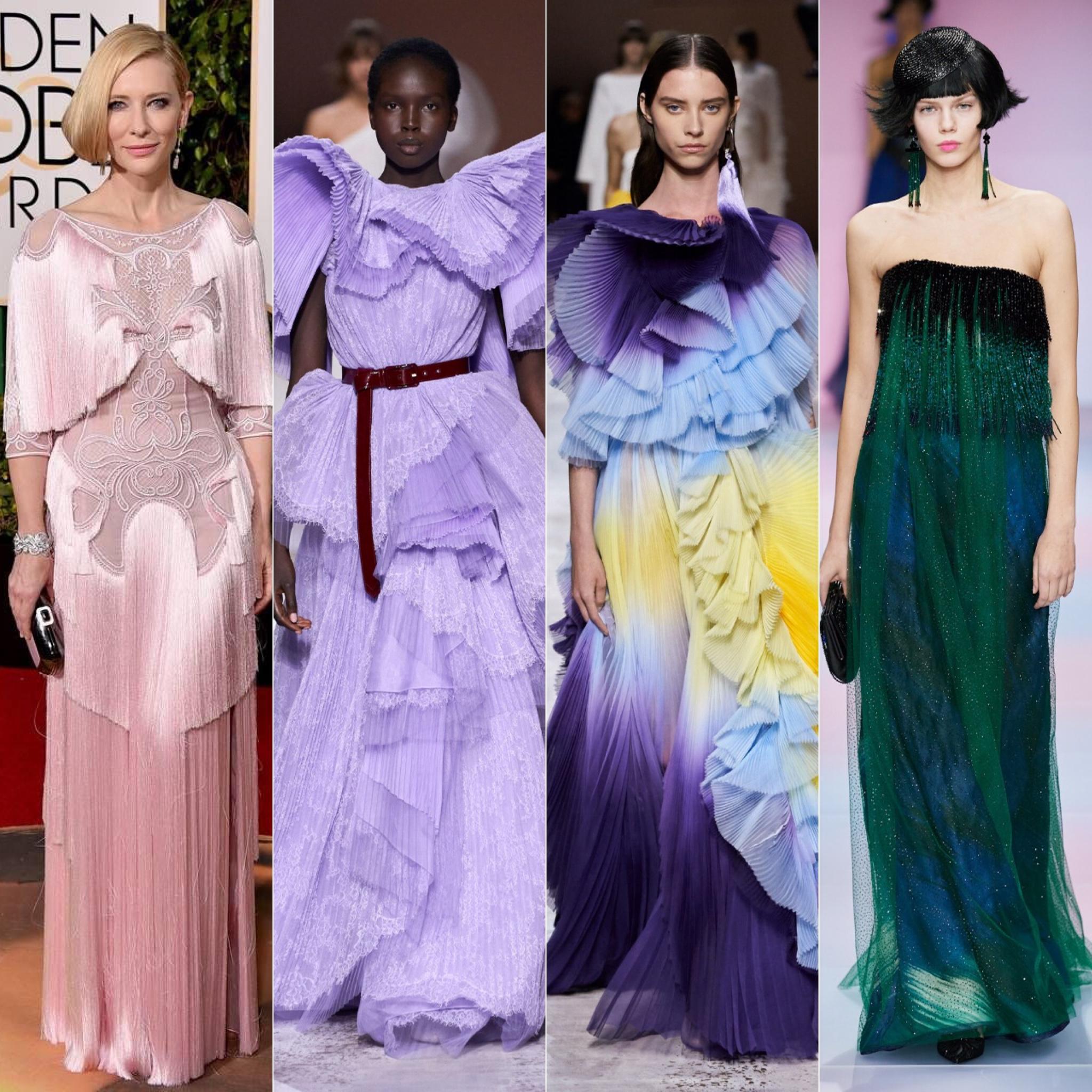 Cate Blanchett; em seguida dois looks da Valentino e um vestido da Armani Privé / Cortesia