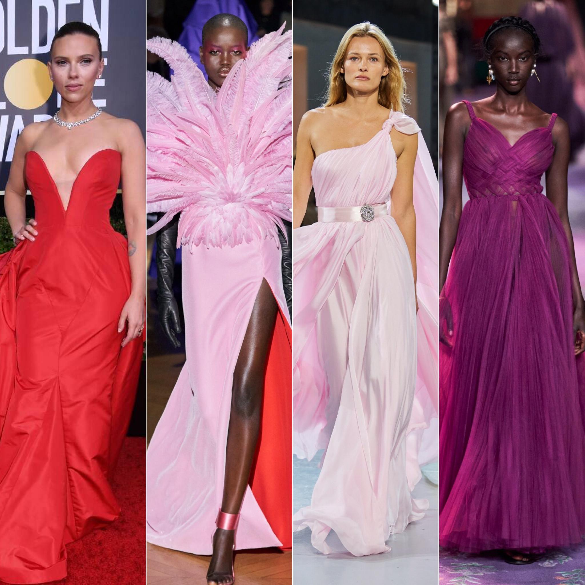 Scarlett Johansson, de Vera Wang; em seguida looks de Givenchy, Alexandre Vauthier e Dior / Reprodução e Cortesia