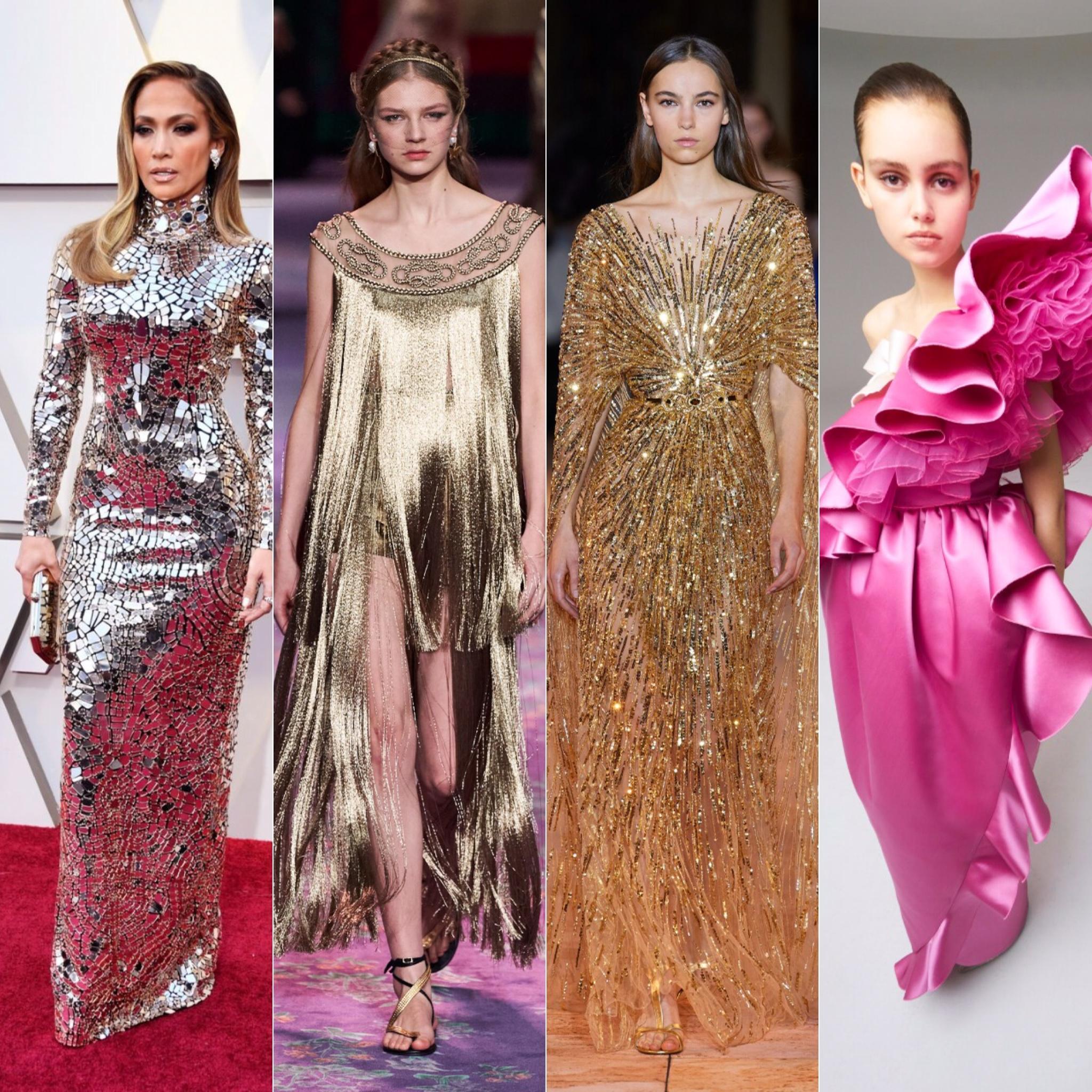 J.Lo de Tom Ford, em seguida looks de Dior, Zuhair Murad e Giambattista Valli / Reprodução e Cortesia