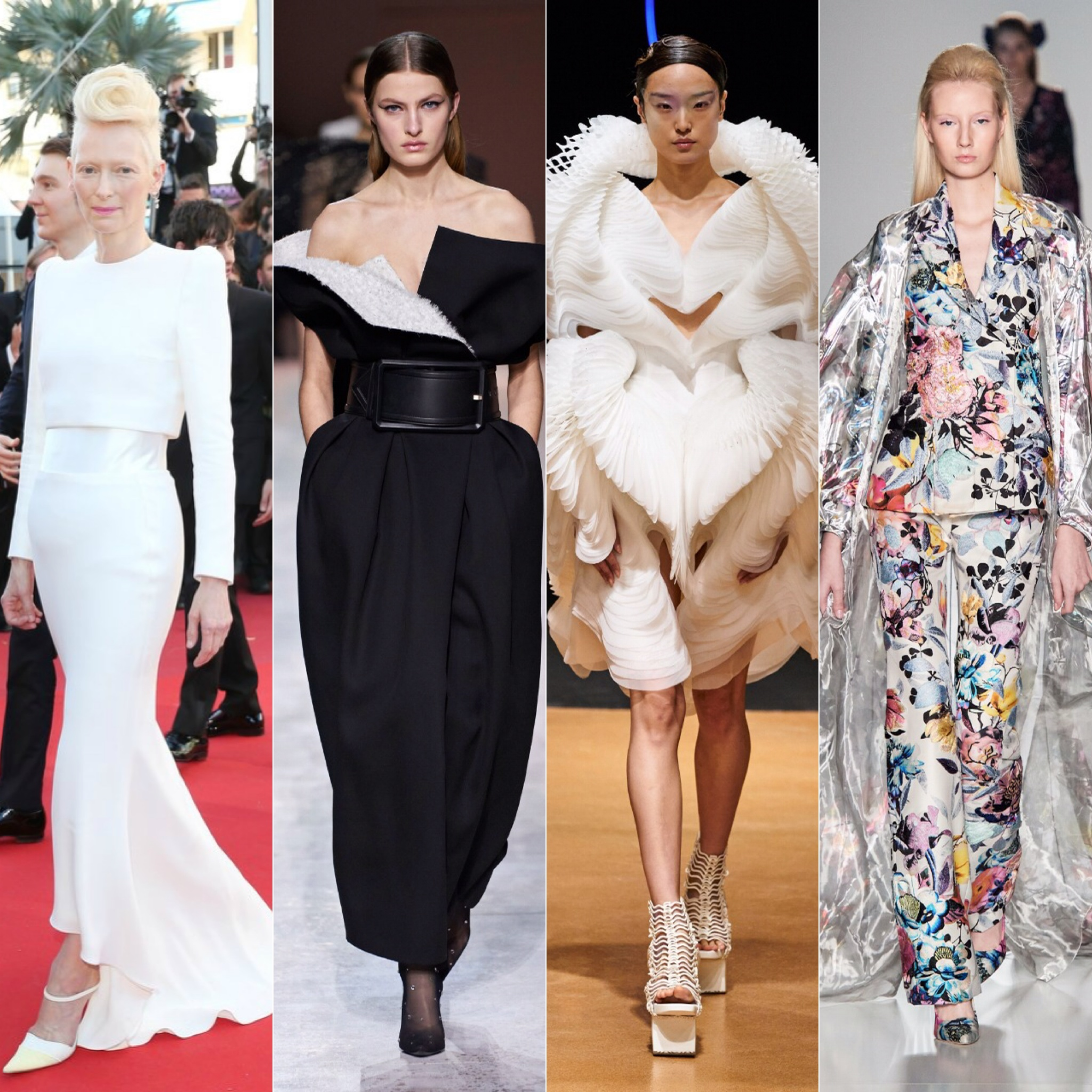 Tilda Swinton à esquerda; em seguida looks de Givenchy, Iris Van Herpen e Ralph & Russo / Reprodução