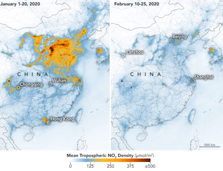 Leitura feita por satélite compara a poluição do ar na China de janeiro e fevereiro / Reprodução