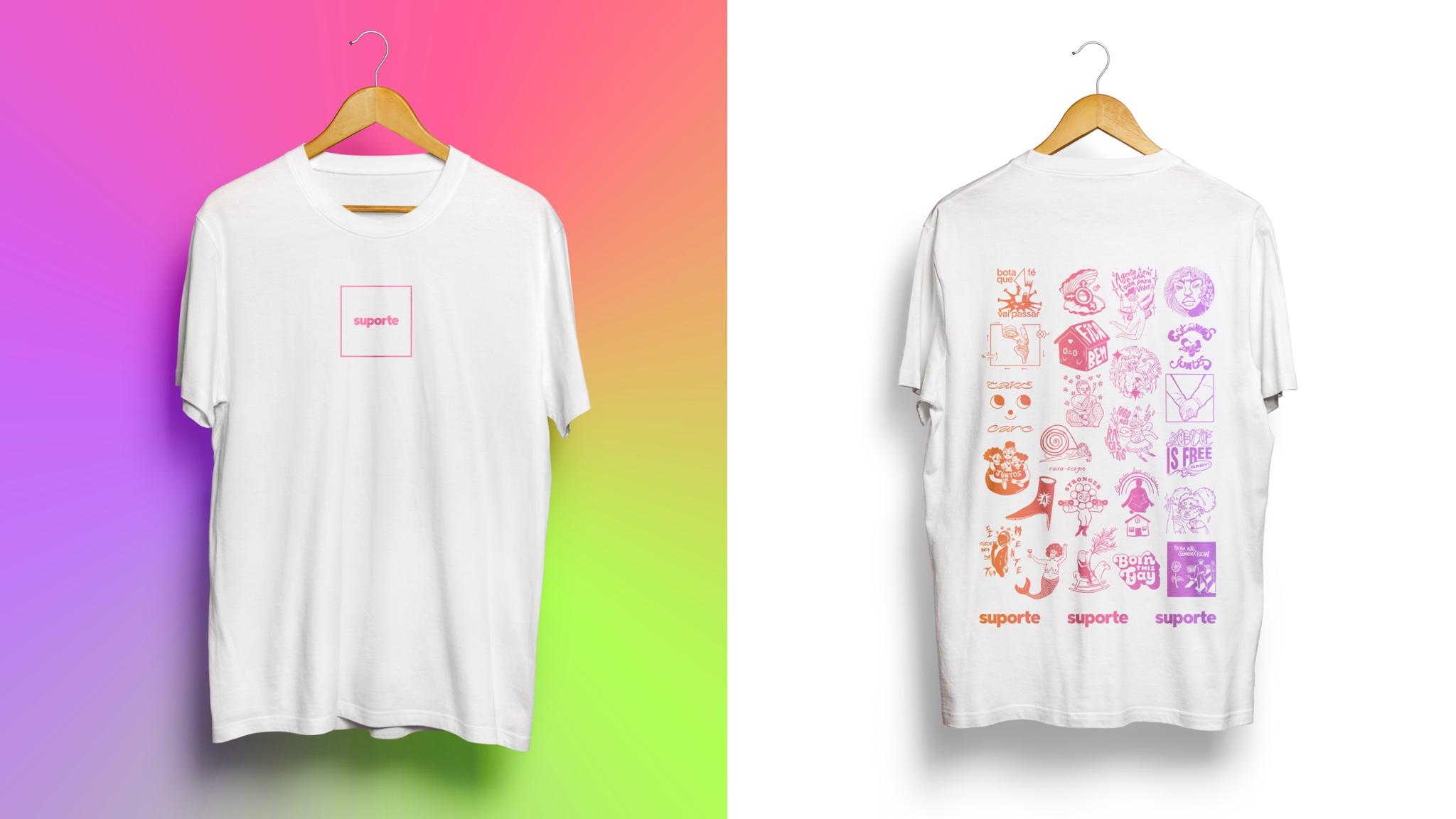 Camiseta que está à venda feita por artistas LGBTQIA+ do projeto Suporte / Cortesia