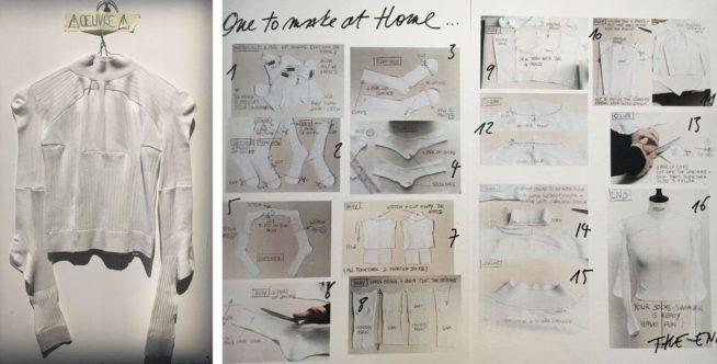 o passo a passo do suéter feito de meias de Martin Margiela