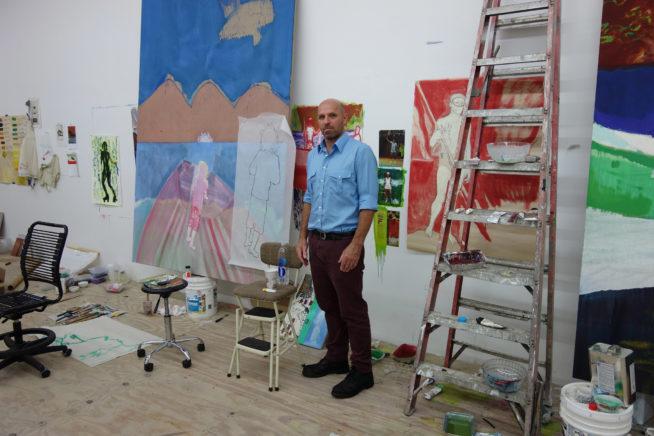 peter doig em seu estúdio. foto: cortesia dior