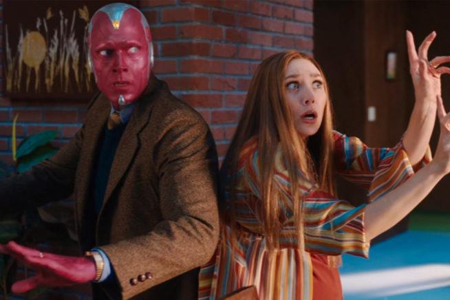 Cena da série Wandavision, nova aposta da Marvel com o casal de protagonistas Wanda e Fusão