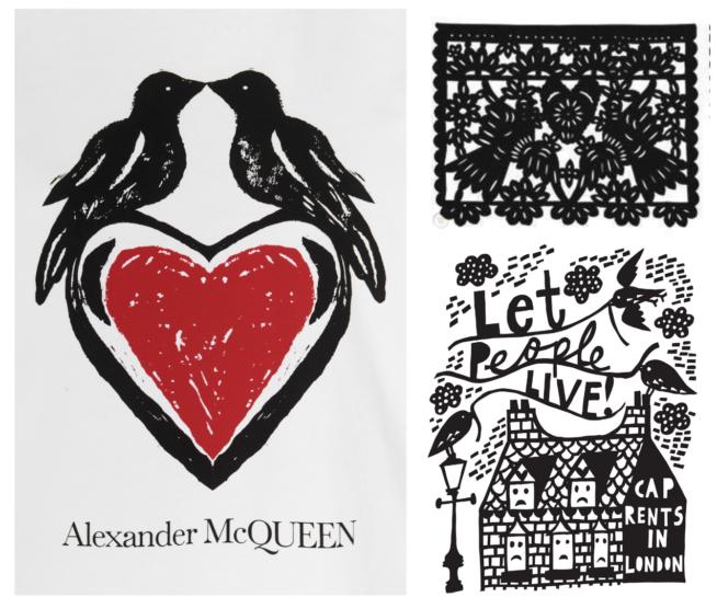 Em ordem: Alexander Mc Queen, Arte mexicana de Papel Picado e Rob Ryan
