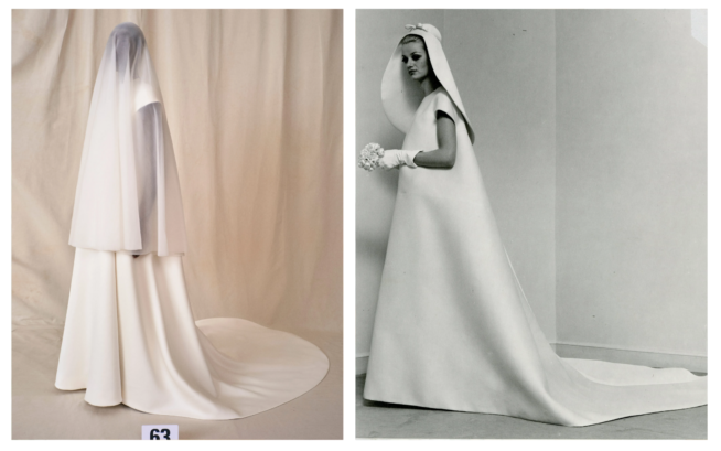 À Esquerda: Balenciaga Fall 21 Couture À Direita: Cristóbal Balenciaga