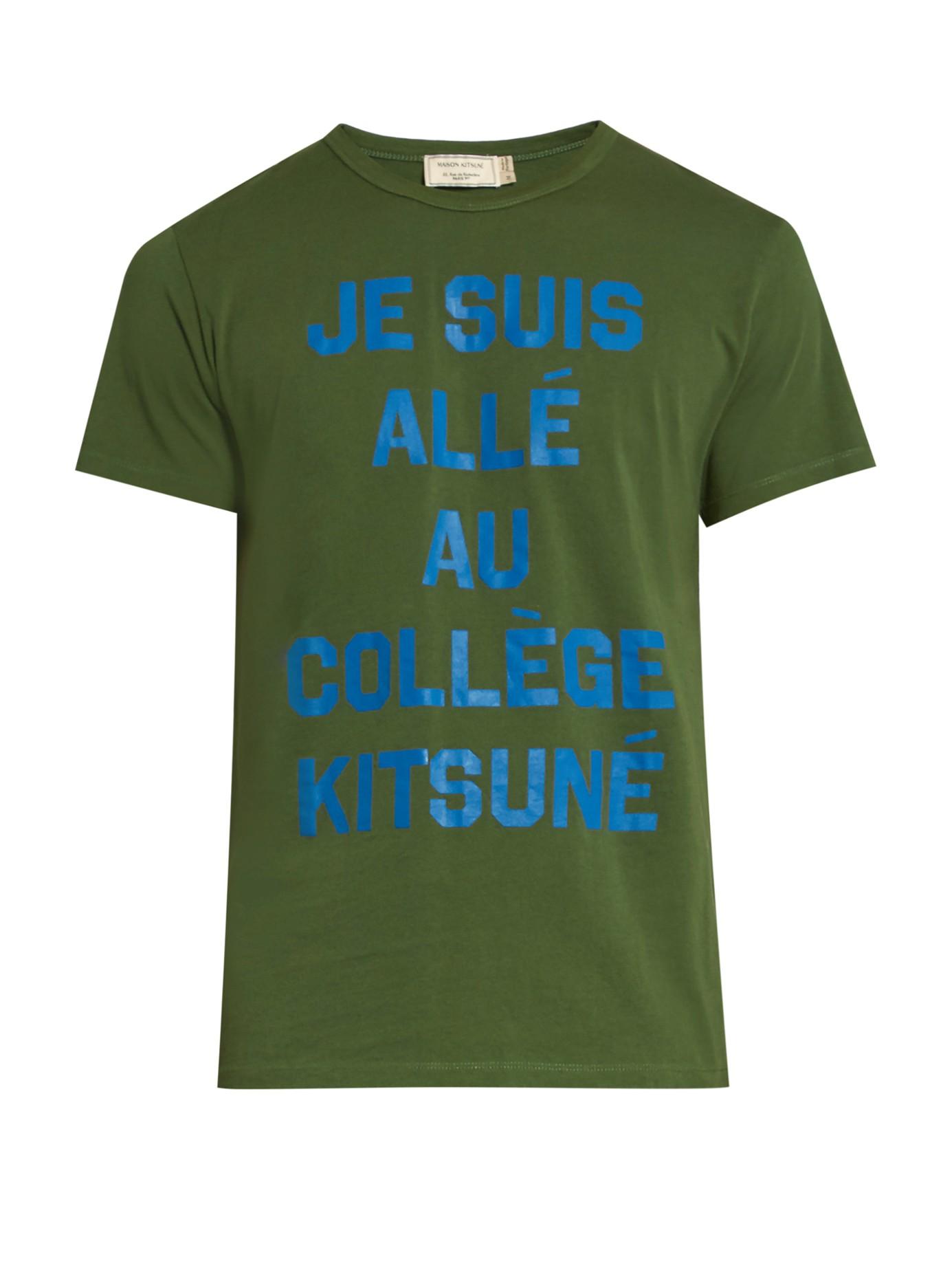 camiseta com mensagem maison kitsune