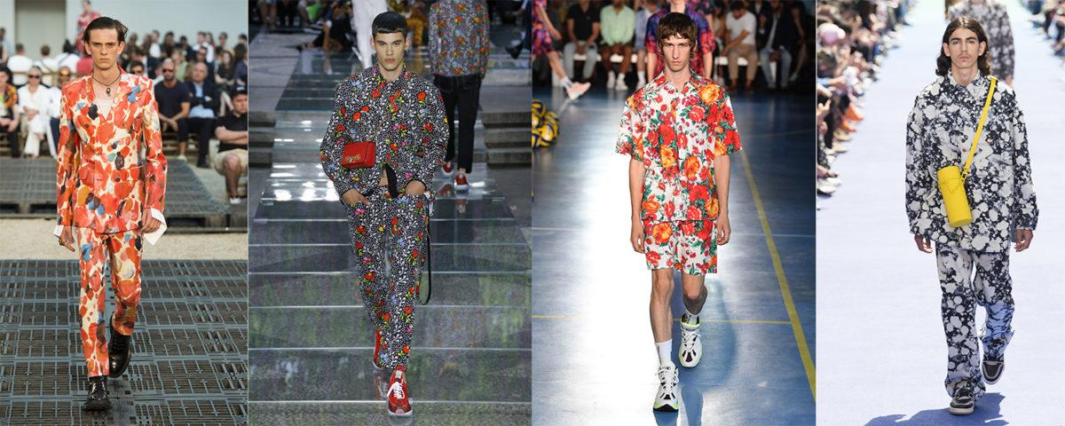 Da esquerda para direita, looks de Alexander McQueen, Versace, MSGM e Louis Vuitton / Reprodução